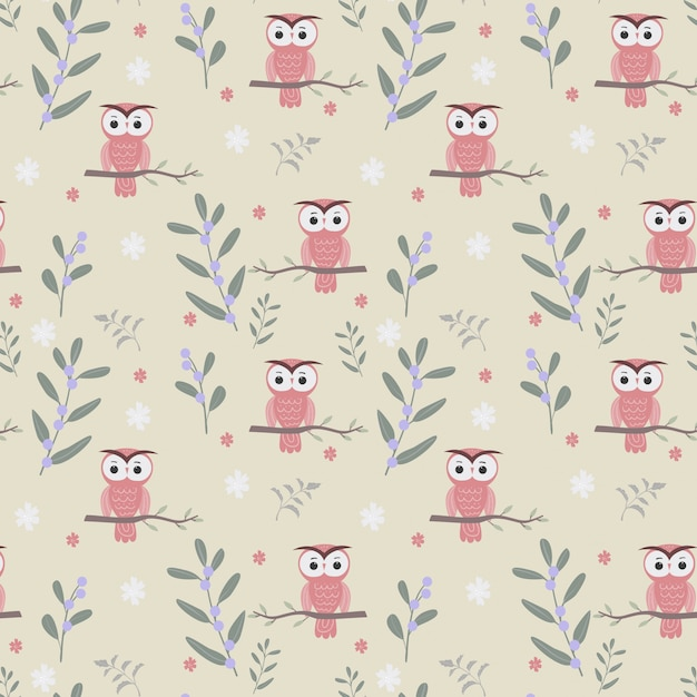 Cute owl and plants seamless pattern Premium Vector