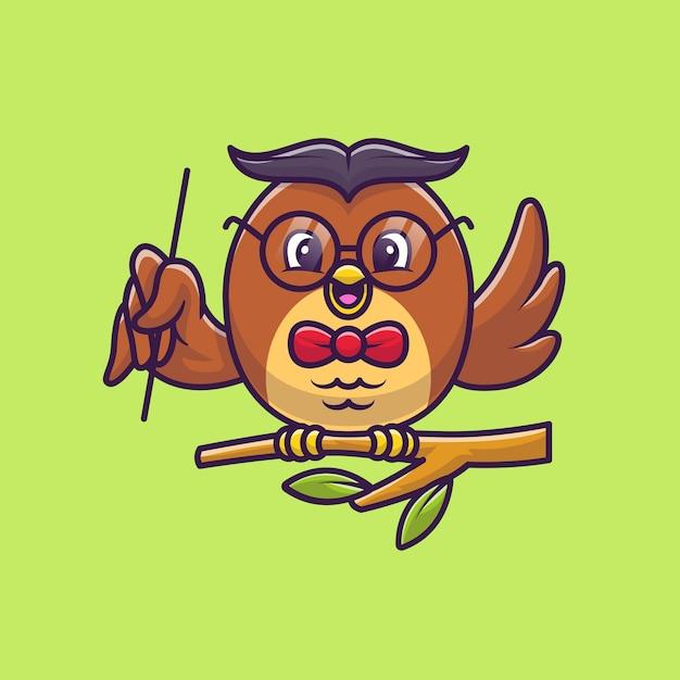 木漫画イラストをポインターで教えるかわいいフクロウ。動物教育アイコンコンセプト Premiumベクター