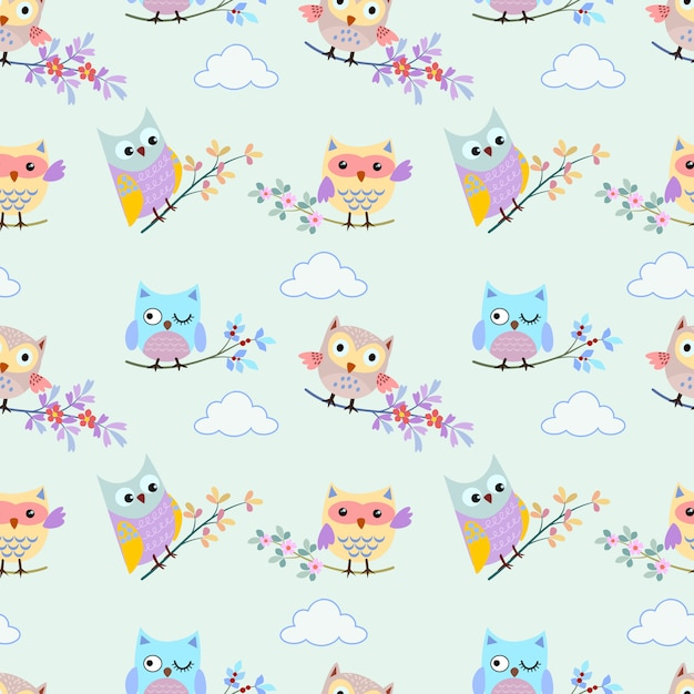 Cute owl with branch on blue sky and cloud seamless pattern Premium Vector