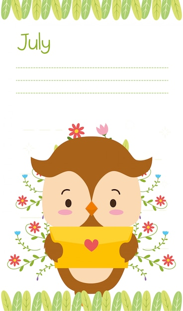 Cute owl with love letter, july reminder, flat style Free Vector