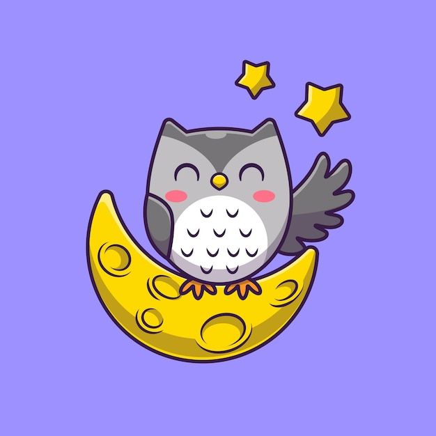 Cute owl with moon and stars cartoon icon illustration. Free Vector