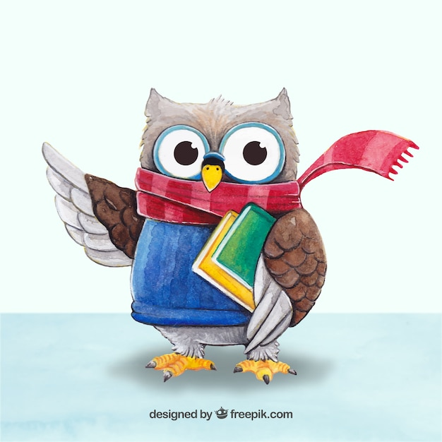 Cute owl with scarf and books Free Vector