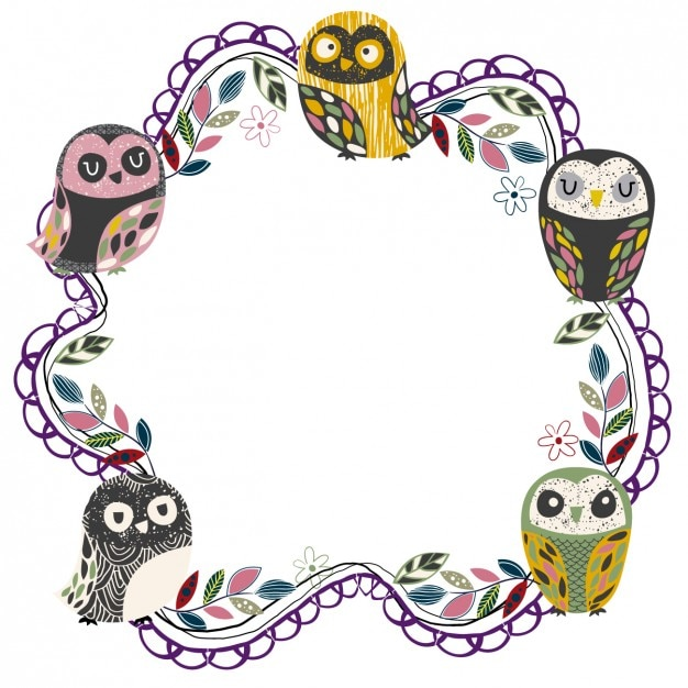 Cute owls frame Free Vector