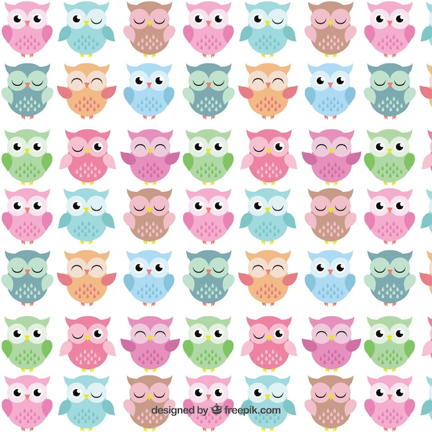 cute owls pattern vector free download