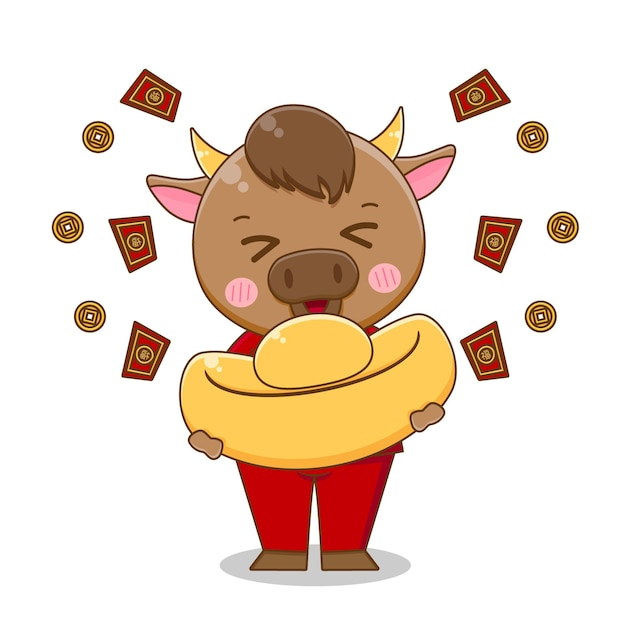 Милый бык приносит золотой слиток, счастливого китайского нового года Premium векторы