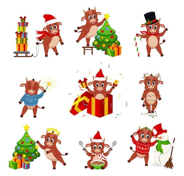 Милый бык. цветные быки китайский новый год. цвет быков китайский новый год символ. Premium векторы