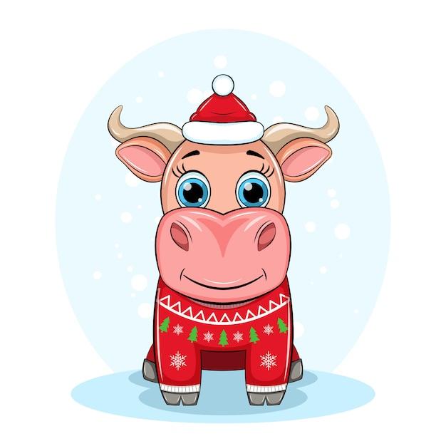 Симпатичный бык в шапке деда мороза и рождественский уродливый красный свитер, символ нового года 2021, иллюстрация Premium векторы