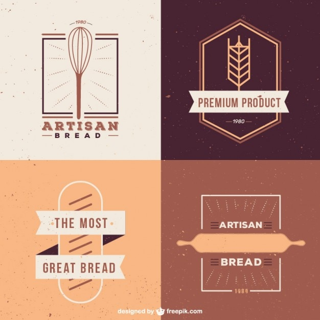 cute pack of bakery logos in flat design vector free