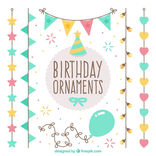 cute pack birthday ornaments vector free download
