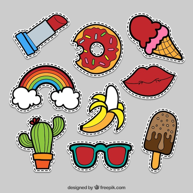 Cute pack of comic stickers Free Vector