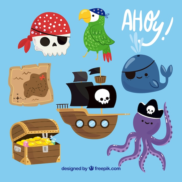 Cute pack of decorative pirate items Free Vector