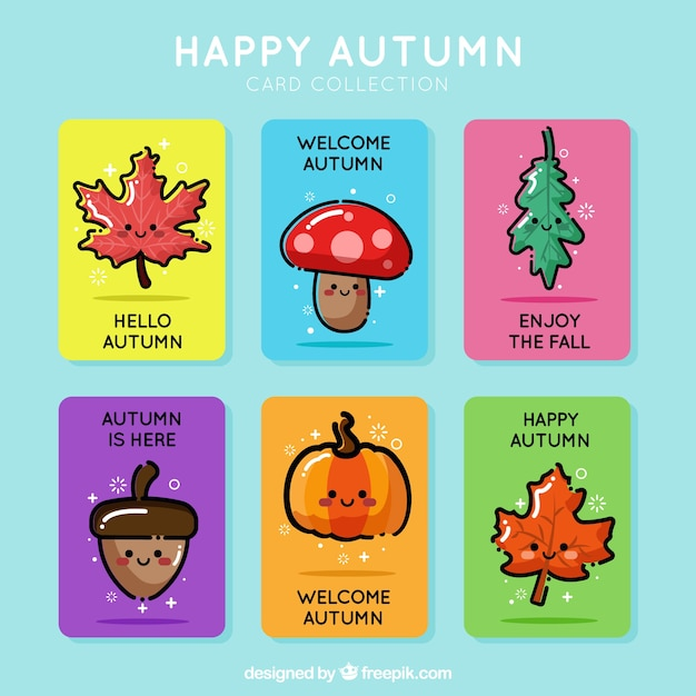 Cute pack of autumn cards with cartoon style