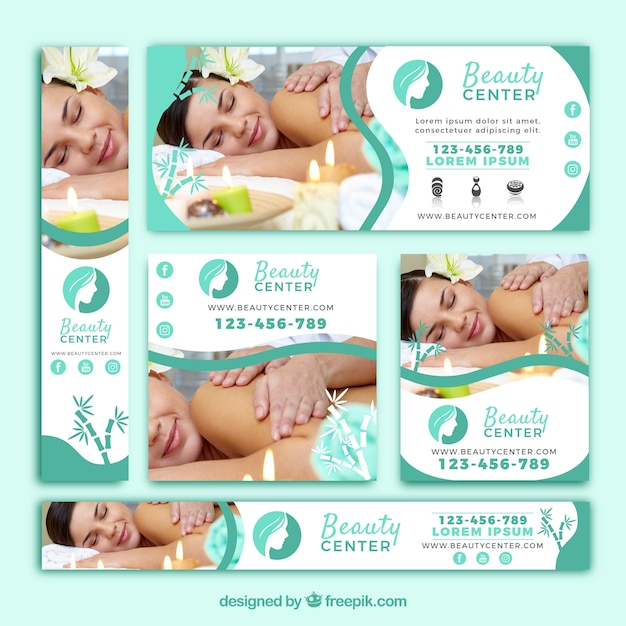 Cute pack of beauty center banners