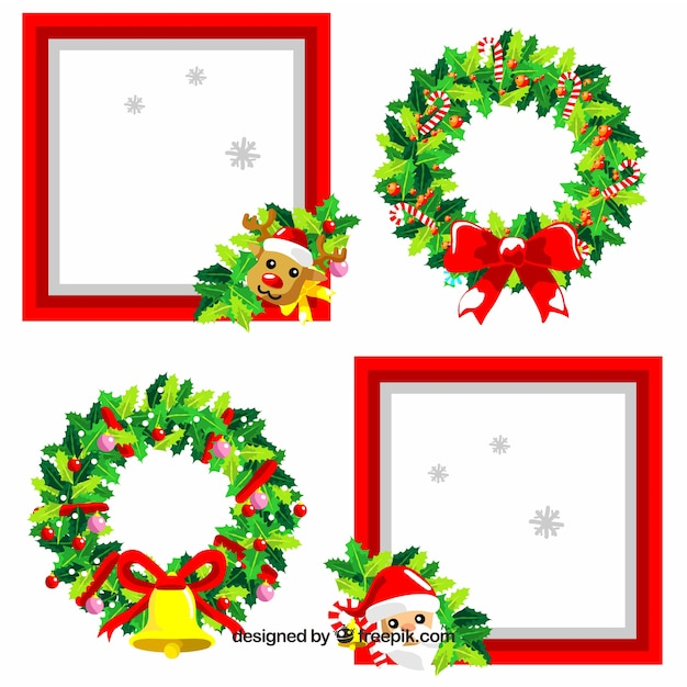 Cute pack of christmas frames Vector | Free Download