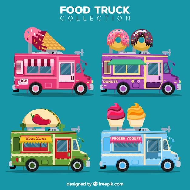 Cute pack of colorful food trucks