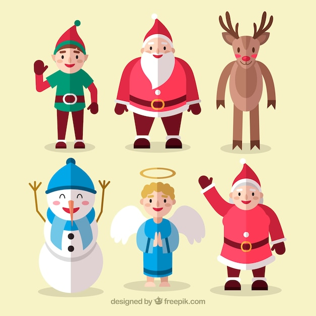 Cute pack of flat christmas characters