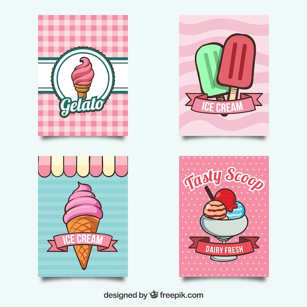 Cute pack of summer cards with tasty ice\ creams