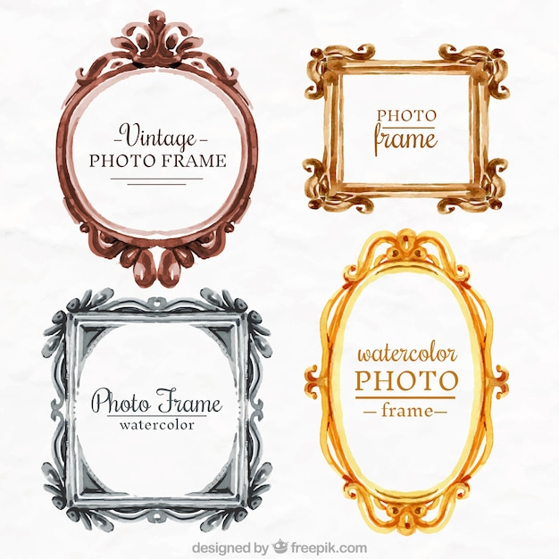 Cute pack of  watercolor photo frames in vintage style
