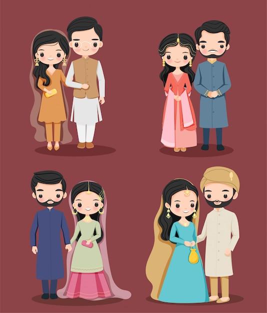 伝統的なドレスの漫画のキャラクターセットでかわいいパキスタンカップル Premiumベクター