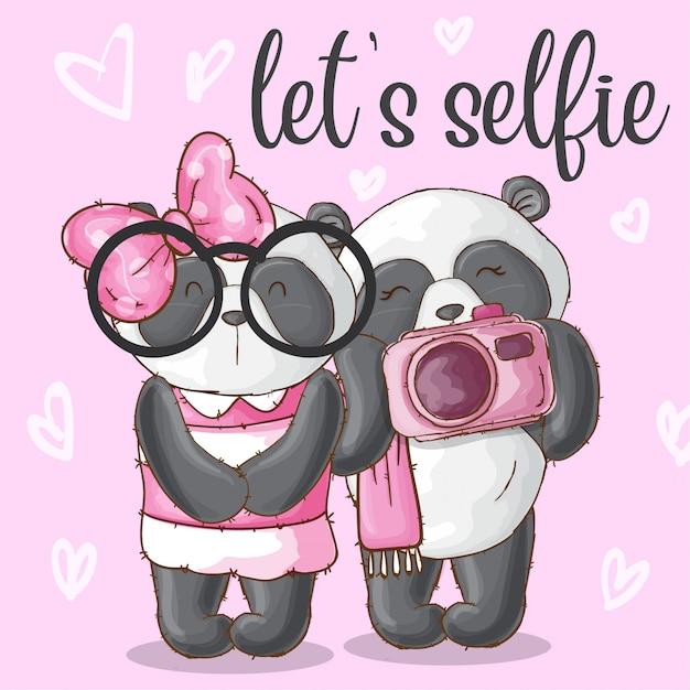 Cute panda animal couple-vector Premium Vector