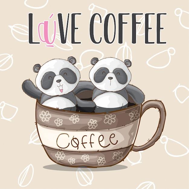 Cute panda animal on cup coffee-vector Premium Vector