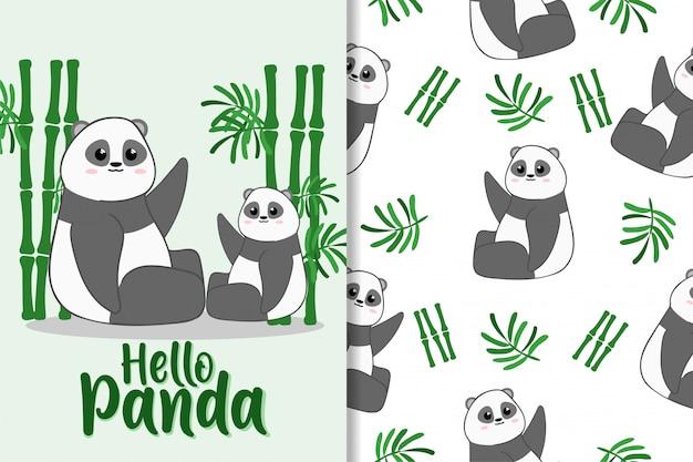 Cute panda animal hand drawn pattern set Premium Vector