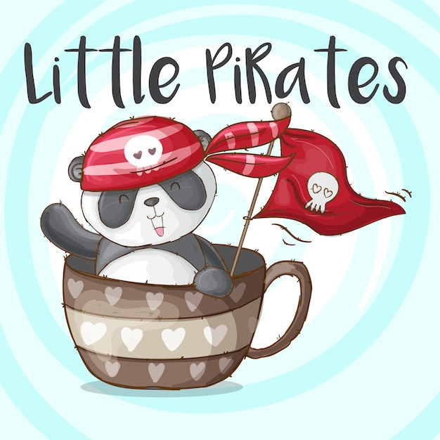 Cute panda animal little pirates-vector Premium Vector