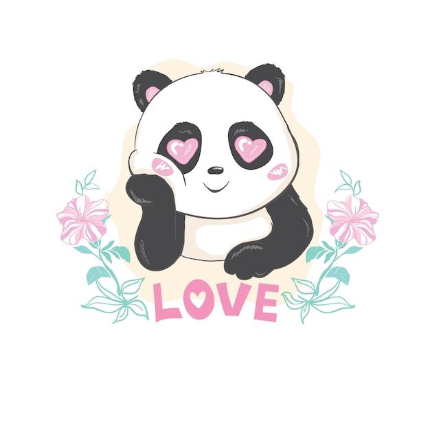 Cute panda bear, vector illustration. Premium Vector