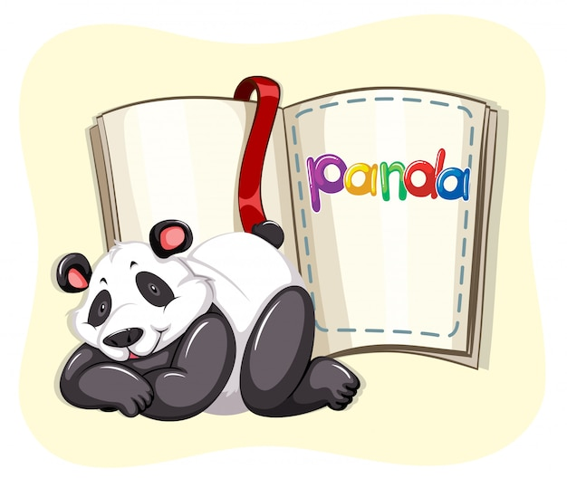 Cute panda and a book Free Vector