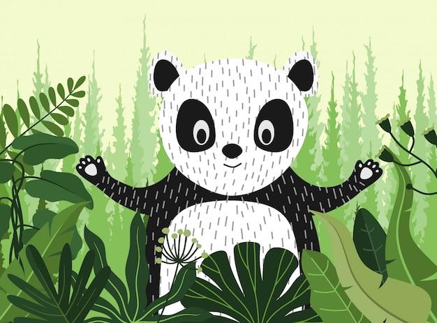 Милый мультфильм панда между джунглями с листьями и деревьями. Premium векторы