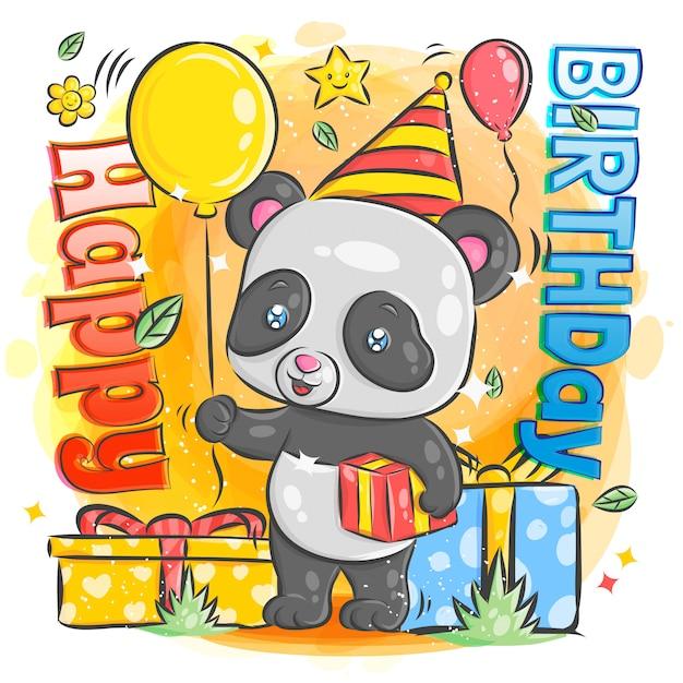 Cute panda celebration happy birthday illustration Premium Vector
