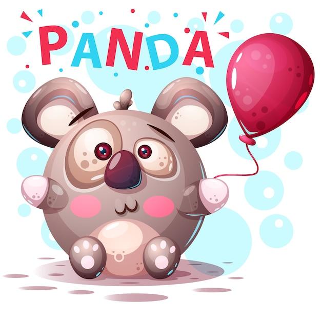 Cute panda characters - cartoon illustration. Premium Vector