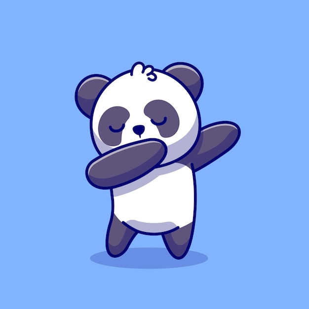귀여운 팬더 dabbing 만화 아이콘 그림입니다. 동물 자연 아이콘 개념 프리미엄. 플랫 만화 스타일 무료 벡터