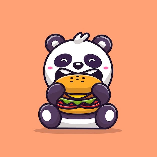 Panda carino mangiare hamburger fumetto illustrazione vettoriale. concetto di cibo animale vettore isolato. stile cartone animato piatto Vettore gratuito
