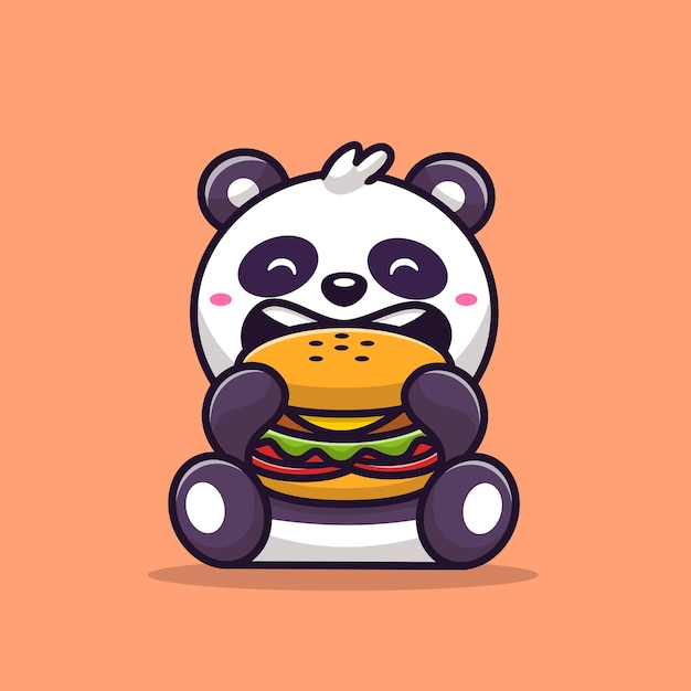 Cute panda eating burger cartoon vector  illustration. animal food  concept isolated  vector. flat cartoon style Free Vector