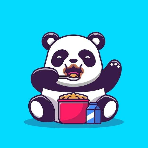 Cute panda eating cereal and milk breakfast cartoon vector  illustration. animal food  concept isolated  vector. flat cartoon style Free Vector