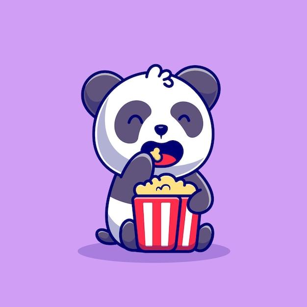 팝콘 만화 아이콘 그림을 먹는 귀여운 팬더. 동물 음식 아이콘 개념입니다. 플랫 만화 스타일 무료 벡터