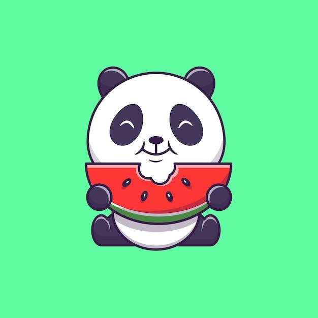 スイカを食べるかわいいパンダ Premiumベクター