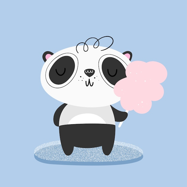 Cute panda eats cotton candy. vector illustration Premium Vector