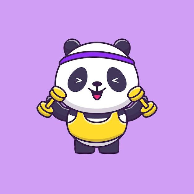귀여운 팬더 체육관 동물 스포츠 프리미엄 벡터