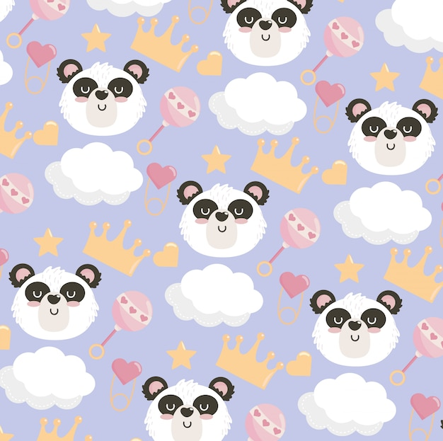 Cute panda head with rattle and crown pattern Free Vector