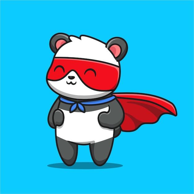 Симпатичные панда герой мультфильм значок иллюстрации. Premium векторы