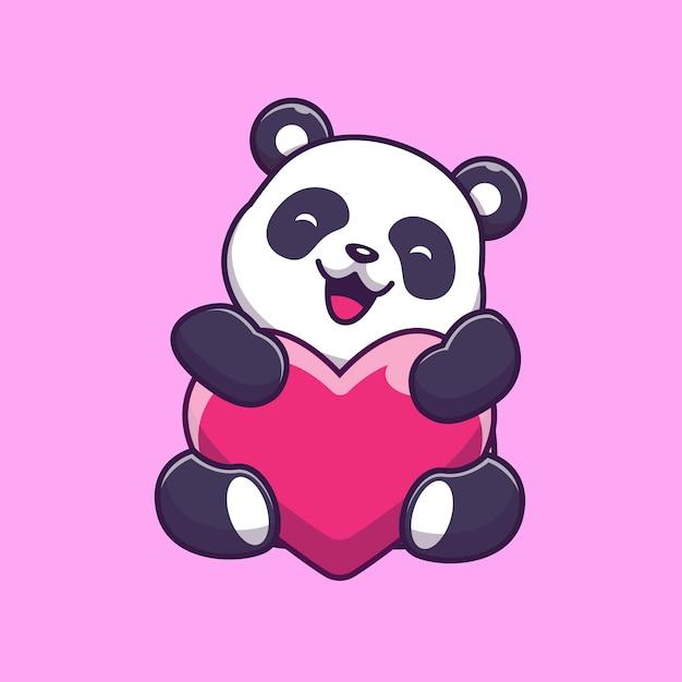 Cute Panda Holding Love Icon Illustration Panda Mascot Cartoon Character Animal Icon Concept Isolated Premium Vector