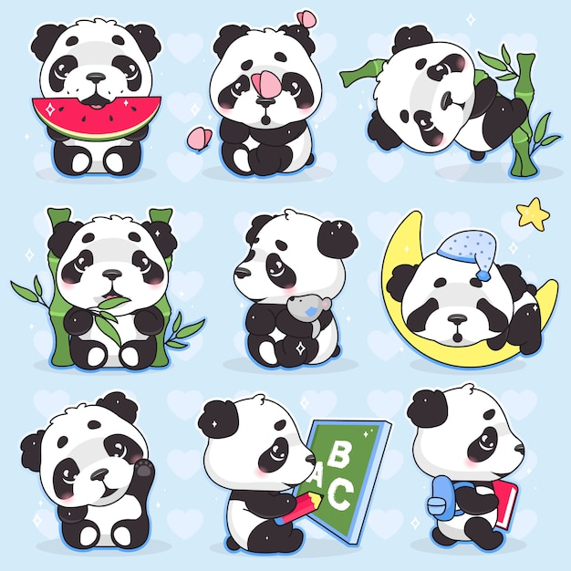 Cute Panda Kawaii Cartoon Characters Set Adorable Happy And Funny Animal Eating Watermelon Bamboo Isolated Sticker Patches Pack Anime Baby Panda Bear Sleeping Emoji On Blue Background Premium Vector