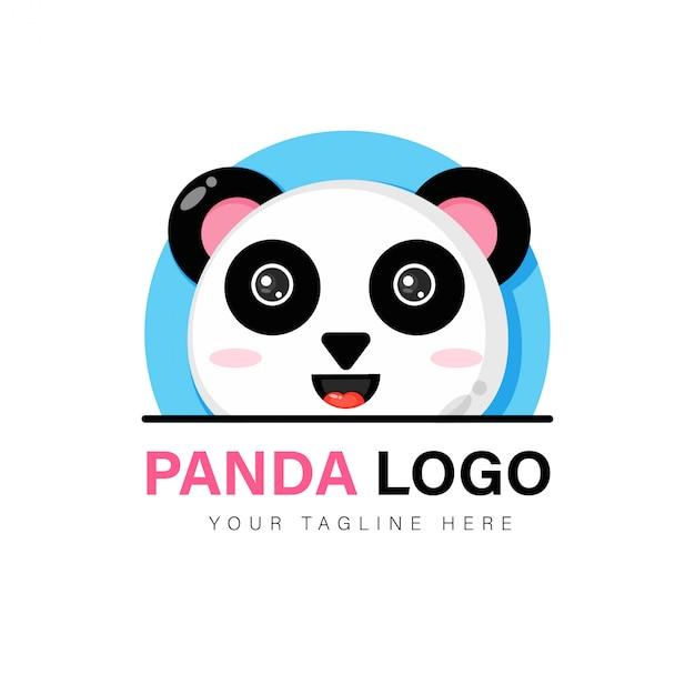 かわいいパンダのロゴデザイン Premiumベクター