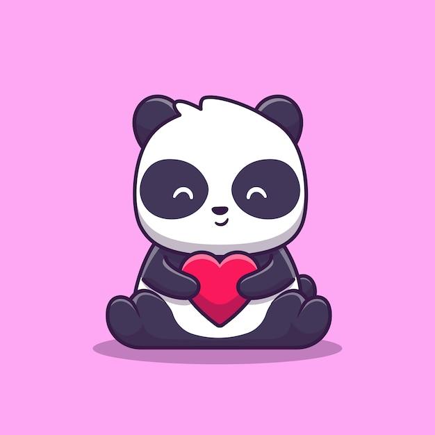 Premium Vector | Cute panda love illustration. animal love . flat cartoon  style