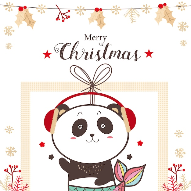 Симпатичные панды русалки рождественские каникулы мультфильм. Premium векторы