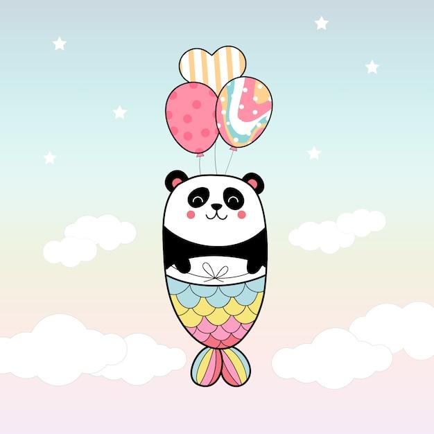 Милая панда русалка летать с воздушным шаром в небе Premium векторы