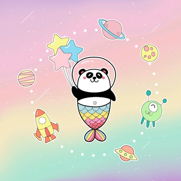 Cute panda mermaid holding balloons in the galaxy Premium Vector