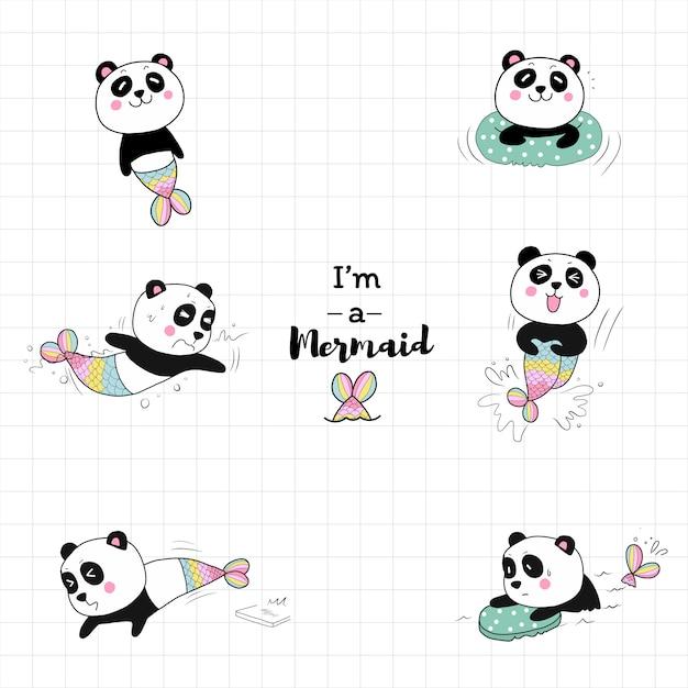 Милая панда русалка плавание в бассейне. Premium векторы